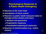 psychological response to a public health emergency