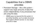 capabilities that a dbms provides