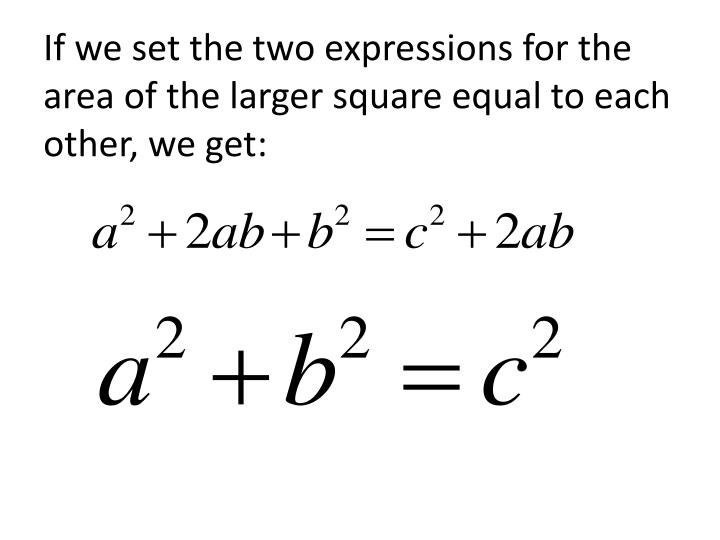 If we set the two expressions for the area of the larger square equal to each other, we get