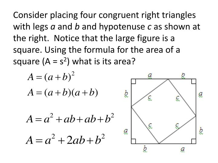 Consider placing four congruent right triangles with legs