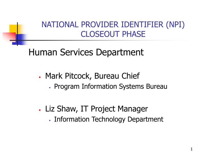 national provider identifier npi closeout phase n.
