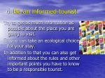6 be an informed tourist