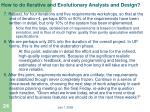 how to do iterative and evolutionary analysis and design4