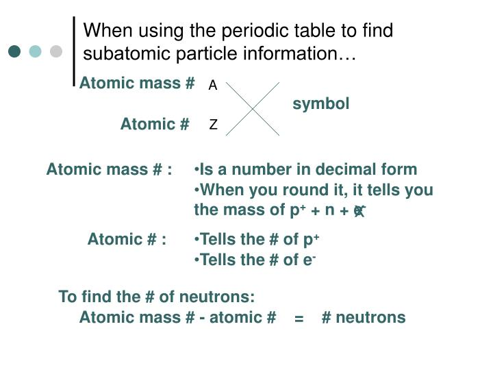 When using the periodic table to find subatomic particle information…