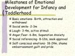 milestones of emotional development for infancy and toddlerhood