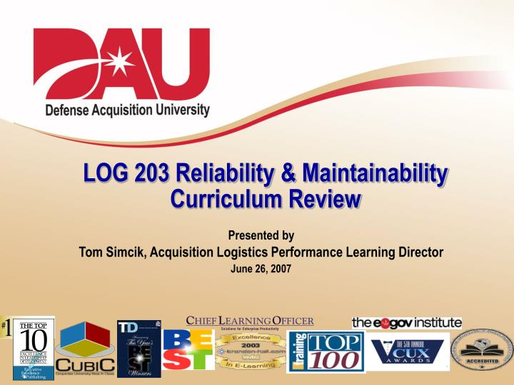 log 203 reliability maintainability curriculum review n.