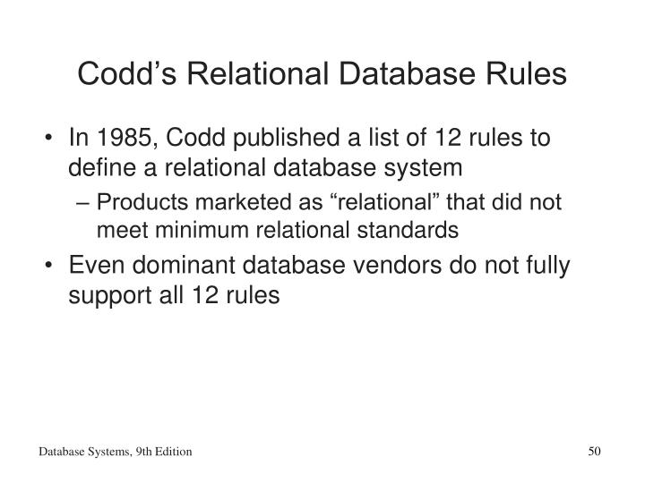 Codd's Relational Database Rules