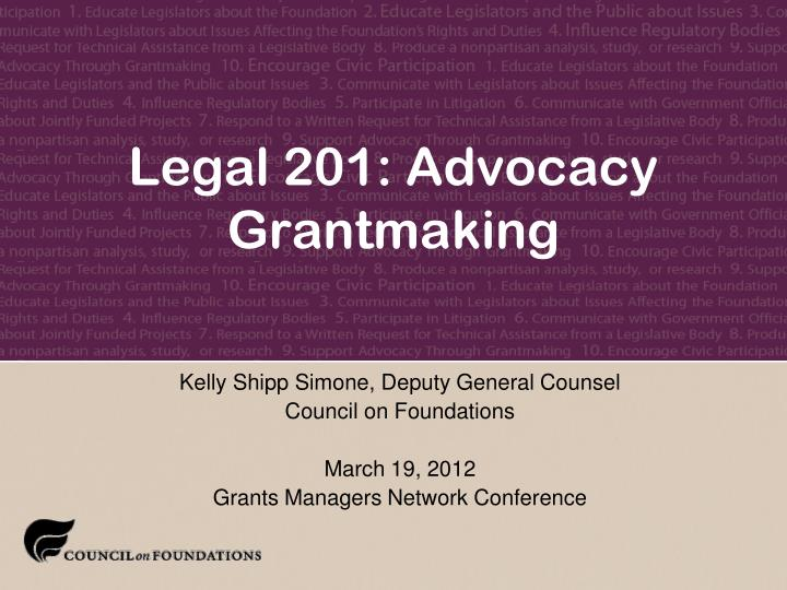 legal 201 advocacy grantmaking n.