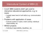 intercultural context of mba 2