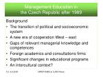 management education in the czech republic after 1989