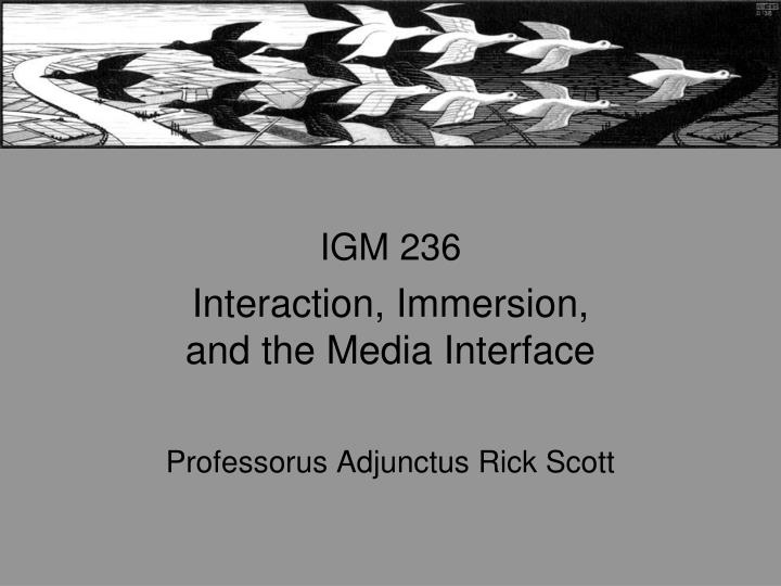 igm 236 interaction immersion and the media interface professorus adjunctus rick scott n.