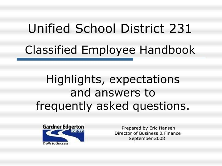 unified school district 231 classified employee handbook n.