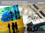 exhibitions for the public providing support to national actors