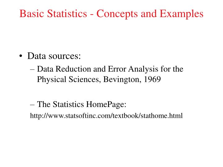 basic statistics concepts and examples n.