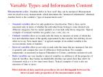 variable types and information content