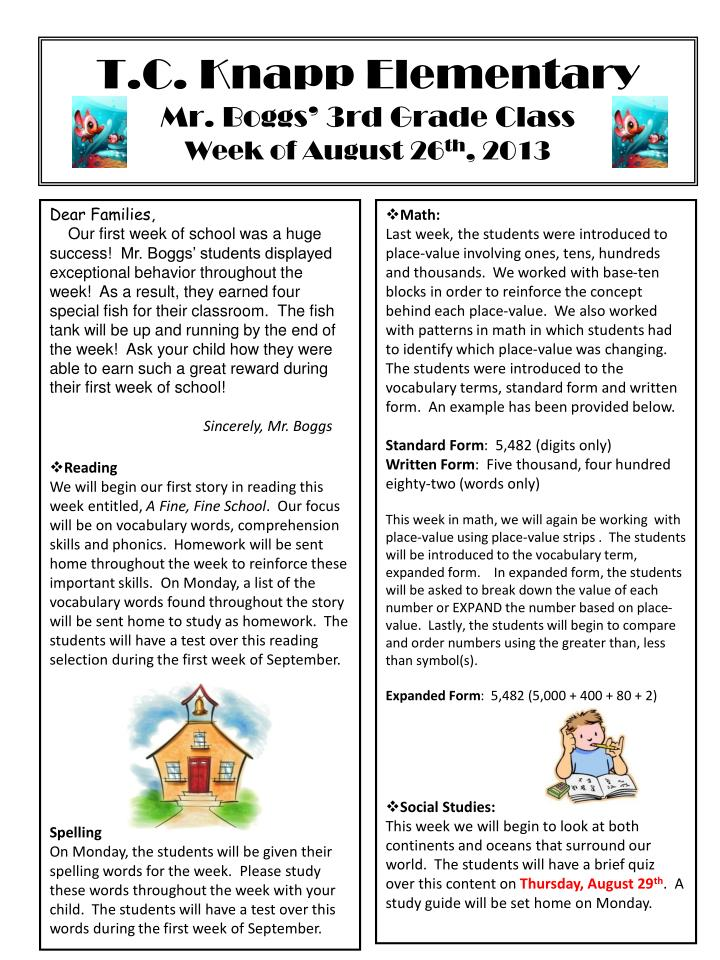 t c knapp elementary mr boggs 3rd grade class week of august 26 th 2013 n.