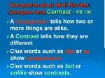 comprehension skill review compare and contrast pb 106
