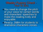 weekly fluency check pitch te 291a