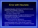 error with heuristic