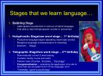 stages that we learn language