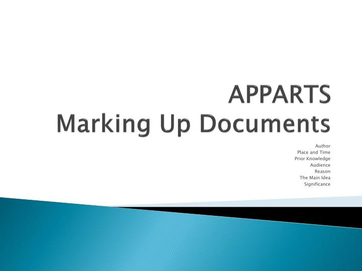 apparts marking up documents n.