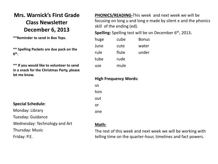 mrs warnick s first grade class newsletter december 6 2013 n.