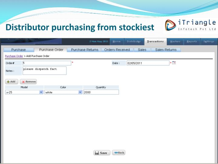 Distributor purchasing from stockiest