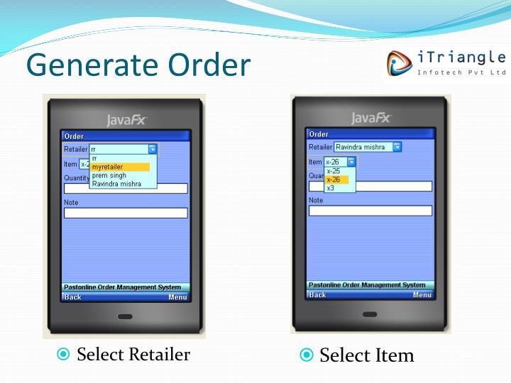Generate Order