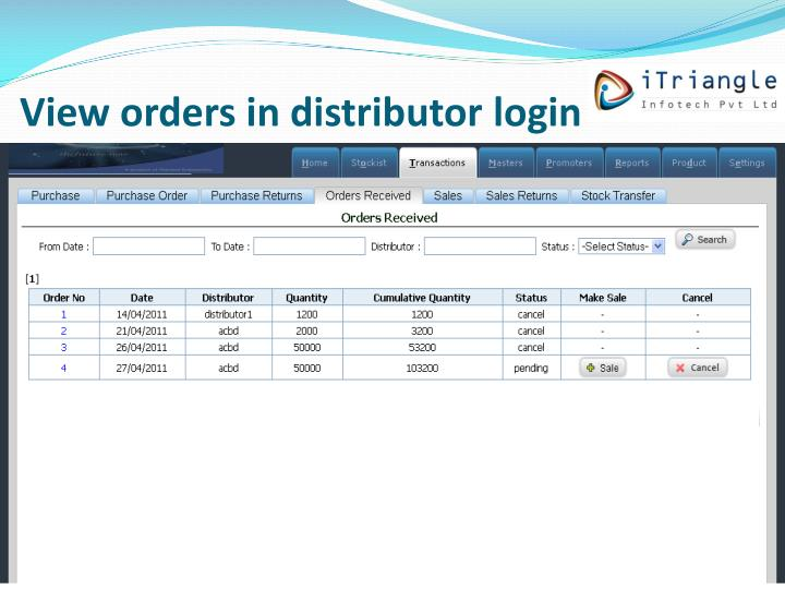 View orders in distributor login