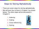 steps for storing alphabetically