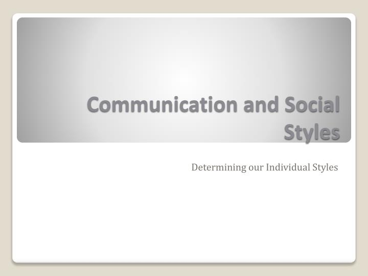 communication and social styles n.