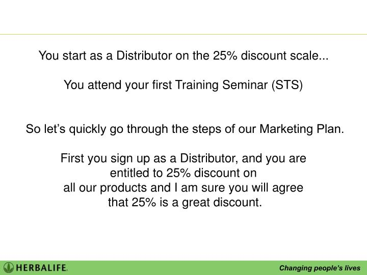 You start as a Distributor on the 25% discount scale...