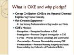 what is oxe and why pledge