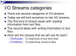 i o streams categories