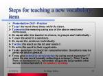 steps for teaching a new vocabulary item