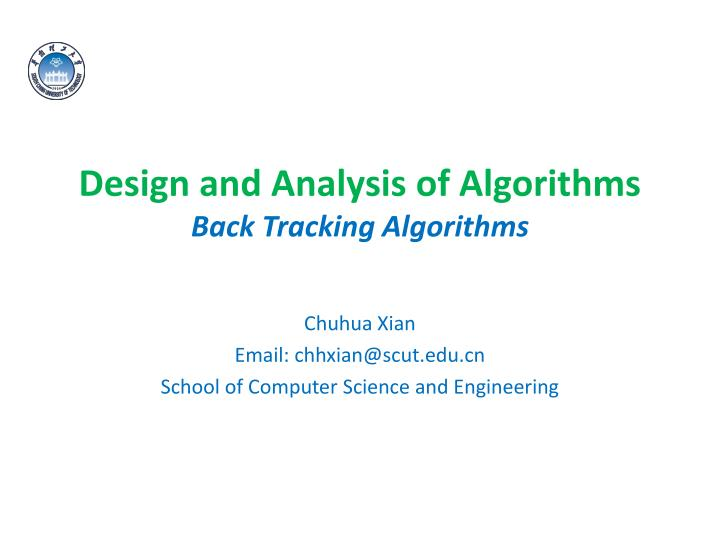 design and analysis of algorithms back tracking algorithms n.