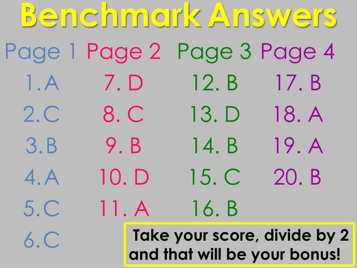 Benchmark answers