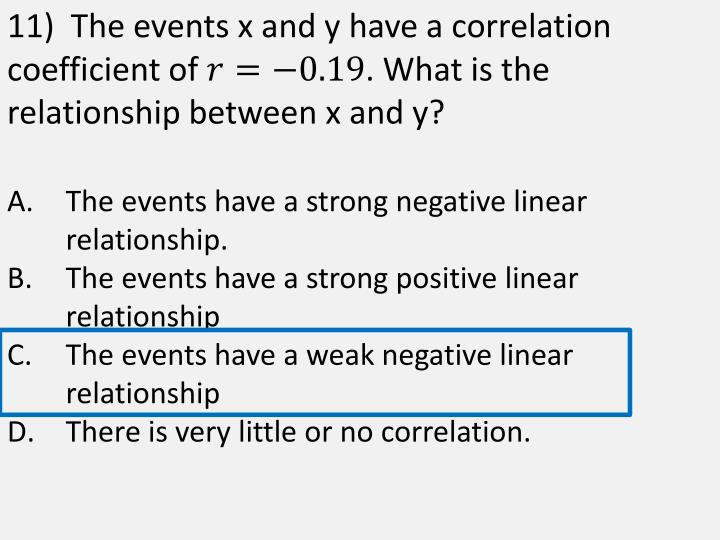11)  The events x and y have a correlation coefficient of