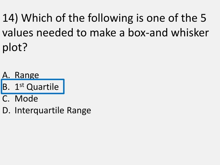 14) Which of the following is one of the 5 values needed to make a box-and whisker plot?