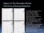 impact of the cherenkov photon s tatistics on energy resolution