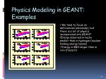 physics modeling in geant examples