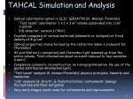 tahcal simulation and analysis