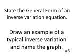 state the general form of an inverse variation equation