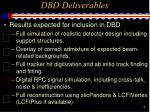 dbd deliverables