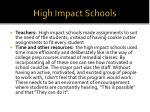 high impact schools