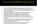 julie s article reflection critique