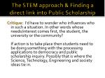 the stem approach finding a direct link into public scholarship
