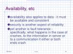 availability etc