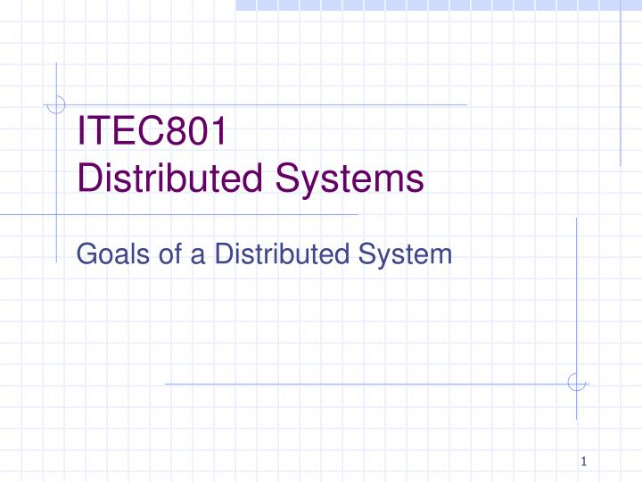 itec801 distributed systems n.