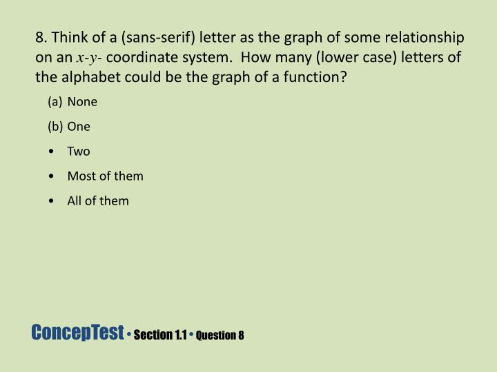 8. Think of a (sans-serif) letter as the graph of some relationship on an